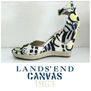 Land's End Canvas Floral Espadrille Wedge Sandals